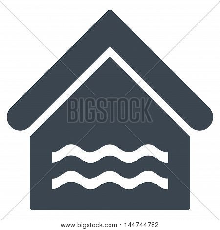 Water Pool icon. Glyph style is flat iconic symbol, smooth blue color, white background.