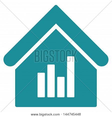 Realty Bar Chart icon. Glyph style is flat iconic symbol, soft blue color, white background.