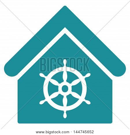 Steering Wheel House icon. Glyph style is flat iconic symbol, soft blue color, white background.