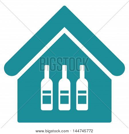 Wine Bar icon. Glyph style is flat iconic symbol, soft blue color, white background.