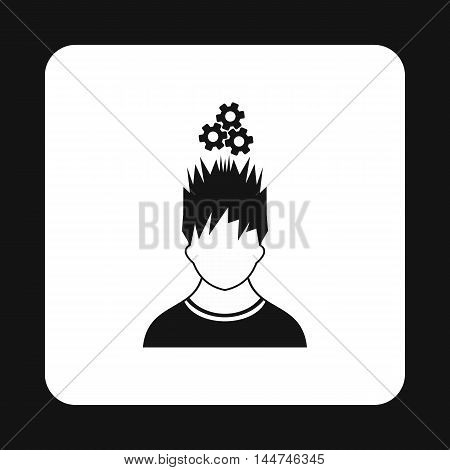 Man with gears over his head icon in simple style isolated on white background