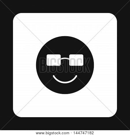 Smiling emoticon with sunglasses icon in simple style isolated on white background