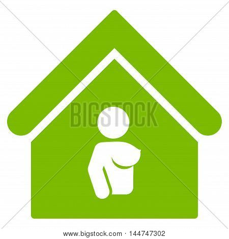 Bordel icon. Glyph style is flat iconic symbol, eco green color, white background.