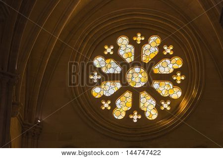 CUENCA SPAIN - August 24 2016: Detail of stained glass window in the interior of the Cathedral of Our Lady of Grace and Saint Julian of Cuenca. Castilla-La Mancha Spain