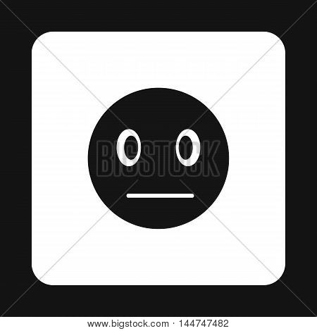 Suspicious emoticon icon in simple style on a white background
