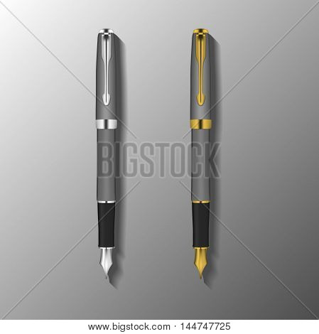 fountain pen illustration. template of fountain pen with silver and gold color elements. vector illustration
