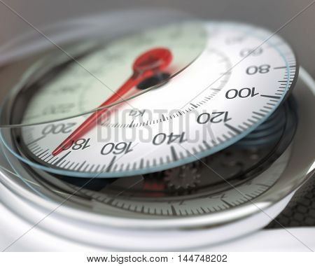 3D illustration. The balance display broken with excess weight.