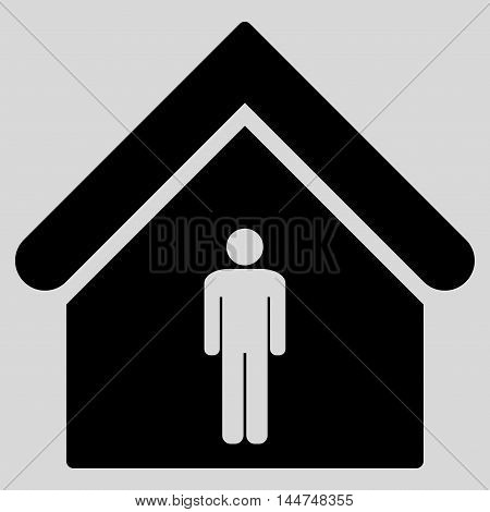 Man Toilet Building icon. Vector style is flat iconic symbol, black color, light gray background.