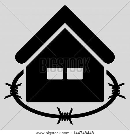 Prison Building icon. Vector style is flat iconic symbol, black color, light gray background.
