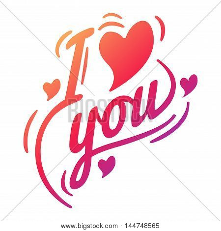 Vector I love You photo badges modern lettering insignia, inspirational text. Lovely text I love You follow your heart romantic type. I love You badge logo sign message decoration.