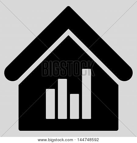 Realty Bar Chart icon. Vector style is flat iconic symbol, black color, light gray background.