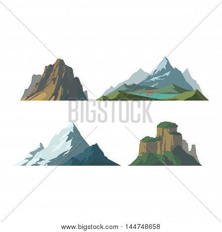 Mountain vector illustration. Nature mountain silhouette elements. Outdoor icon snow ice mountain tops, decorative isolated. Camping mountain landscape travel climbing or hiking mountains