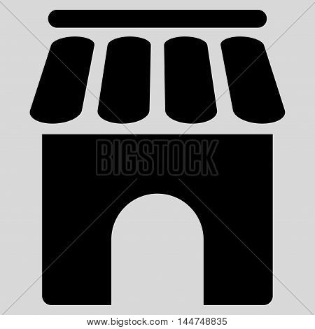 Shop Building icon. Vector style is flat iconic symbol, black color, light gray background.