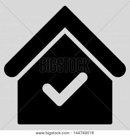 Valid House icon. Vector style is flat iconic symbol, black color, light gray background.