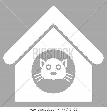 Cat House icon. Vector style is flat iconic symbol, white color, silver background.
