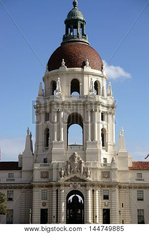 SACRAMENTO, UNITED STATES - DECEMBER 27: The bright tower of the California State Capitol equipped with figures above the entrance on December 27, 2015 in Sacramento.
