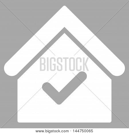 Valid House icon. Vector style is flat iconic symbol, white color, silver background.