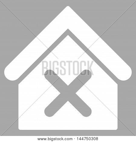 Wrong House icon. Vector style is flat iconic symbol, white color, silver background.