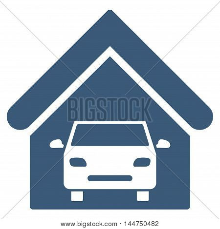 Car Garage icon. Vector style is flat iconic symbol, blue color, white background.