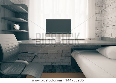 Front view workplace with empty computer screen in room with bed swivel-chair carpet on wooden floor alarm clock on shelves and small window with curtains. Mock up 3D Rendering