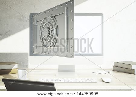 Modern workplace with coffee cup other items and abstract open bank vault on computer display. Online banking concept. 3D Rendering