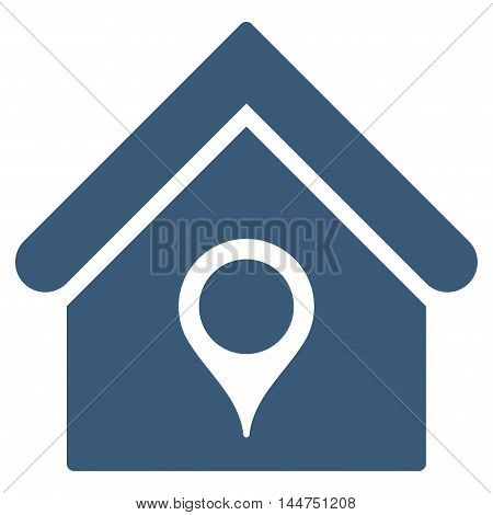House Location icon. Vector style is flat iconic symbol, blue color, white background.