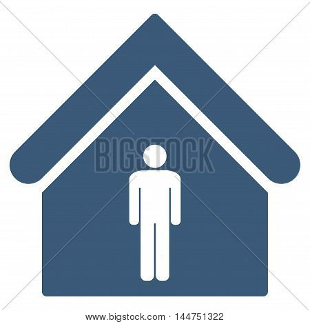 Man Toilet Building icon. Vector style is flat iconic symbol, blue color, white background.