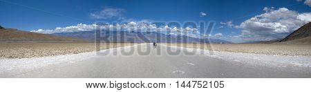 Panoramic view of salt crust in Badwater, Death Valley - California
