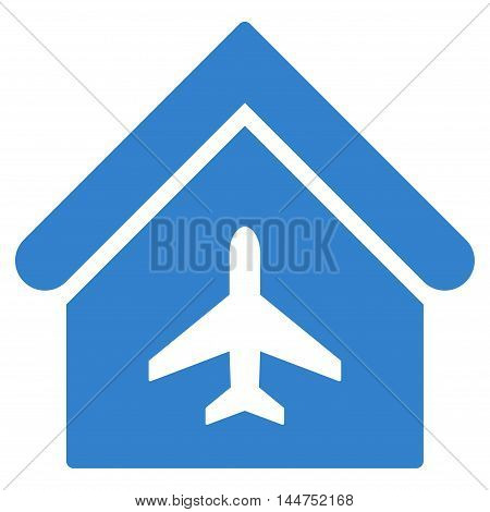 Aircraft Hangar icon. Vector style is flat iconic symbol, cobalt color, white background.
