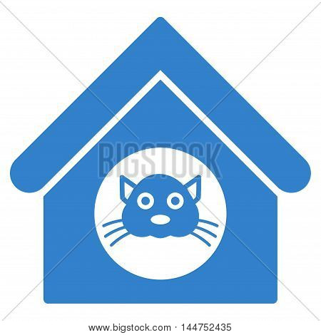 Cat House icon. Vector style is flat iconic symbol, cobalt color, white background.