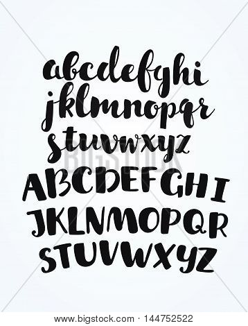Vector artistic handdrawn font in ink. Uppercase and lowercase latin letters for yout disign, lettering and cards