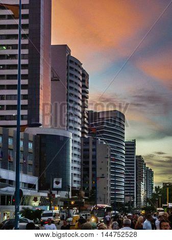 FORTALEZA, BRAZIL, DECEMBER - 2015 - Crowded walkway and modern buildings at boardwalk of Fortaleza Brazil