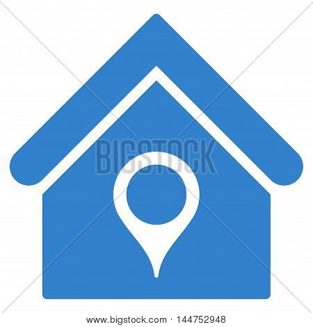 House Location icon. Vector style is flat iconic symbol, cobalt color, white background.