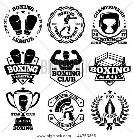Vector Boxing labels set with - boxer, helmet, gladiator, goblet, laurel, ring boxing gloves