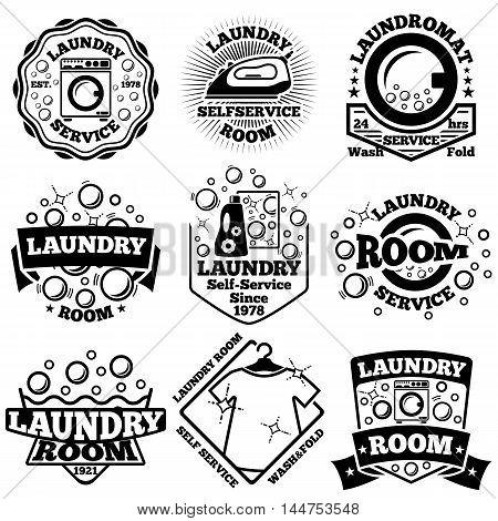 Set of Vector Laundry badges. With bubbles, laundromat, detergent etc