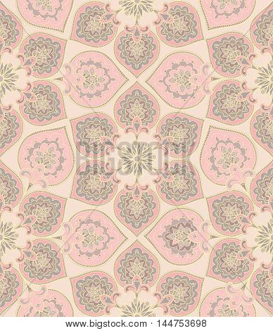 Floral Frame  Flourish Oriental Ethnic Background. Abstract Geometric Ornament With Fantastic Flower