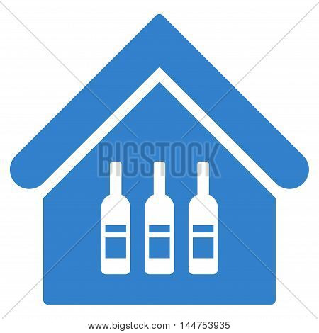 Wine Bar icon. Vector style is flat iconic symbol, cobalt color, white background.