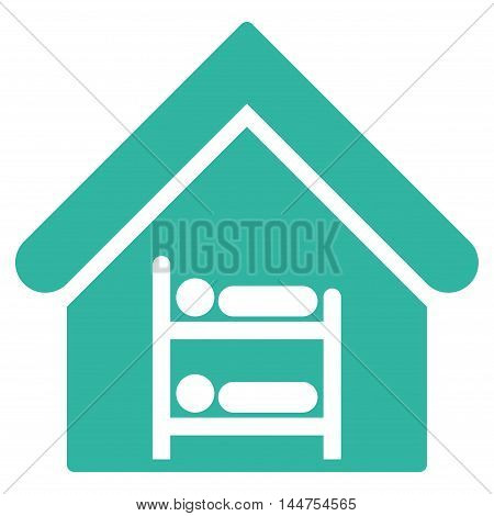Hostel icon. Vector style is flat iconic symbol, cyan color, white background.