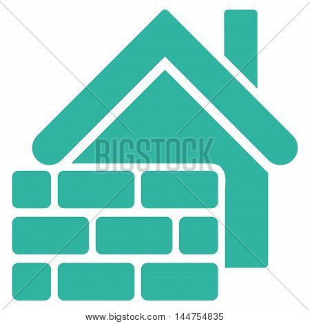 Realty Brick Wall icon. Vector style is flat iconic symbol, cyan color, white background.
