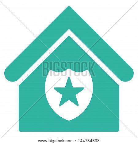 Realty Protection icon. Vector style is flat iconic symbol, cyan color, white background.