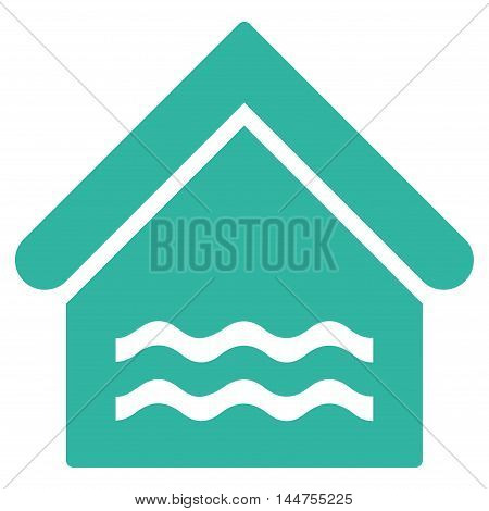 Water Pool icon. Vector style is flat iconic symbol, cyan color, white background.