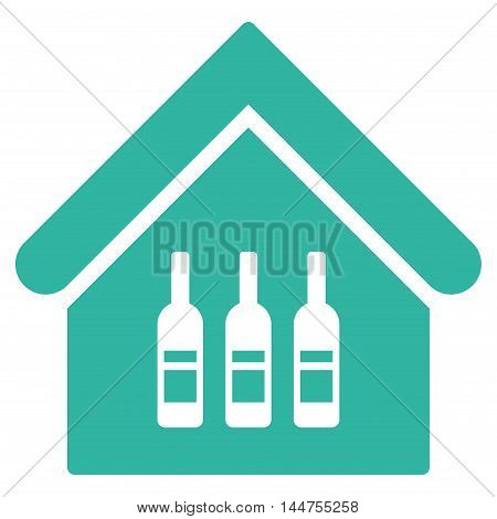 Wine Bar icon. Vector style is flat iconic symbol, cyan color, white background.