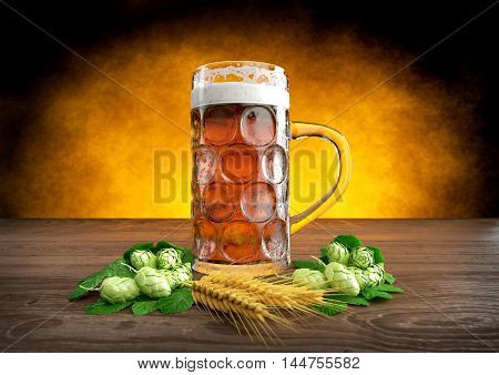 oktoberfest glass of beer with barley and hops- 3D render