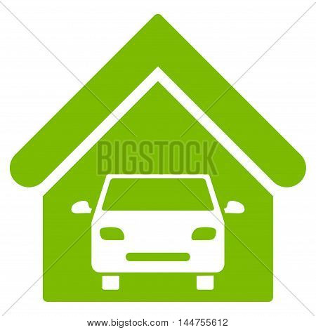 Car Garage icon. Vector style is flat iconic symbol, eco green color, white background.