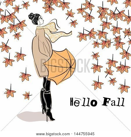 Hello Fall (Autumn) . hand lettering calligraphic word. greeting card template, vector typographic illustration with handwritten words. Fashionable girl with an umbrella.