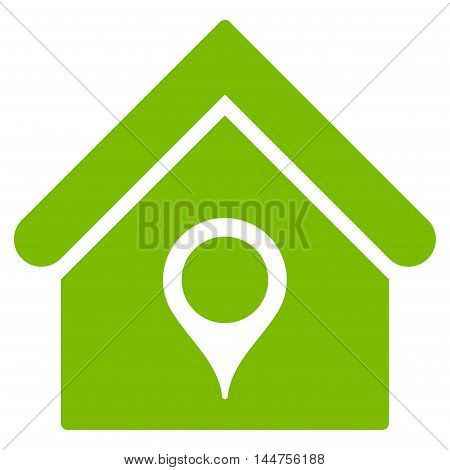 House Location icon. Vector style is flat iconic symbol, eco green color, white background.