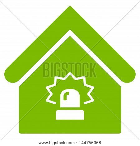 Realty Alarm icon. Vector style is flat iconic symbol, eco green color, white background.