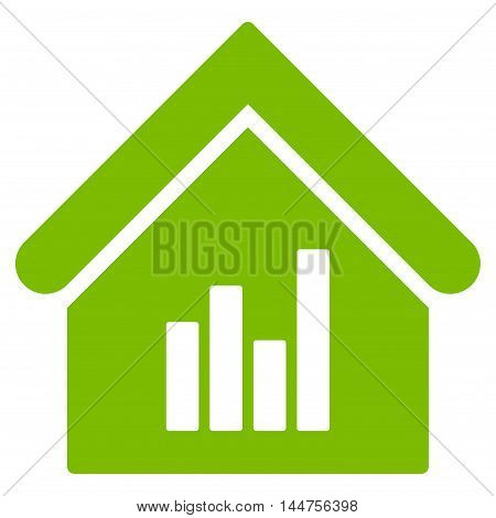 Realty Bar Chart icon. Vector style is flat iconic symbol, eco green color, white background.