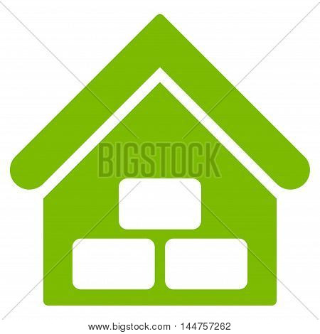 Warehouse icon. Vector style is flat iconic symbol, eco green color, white background.