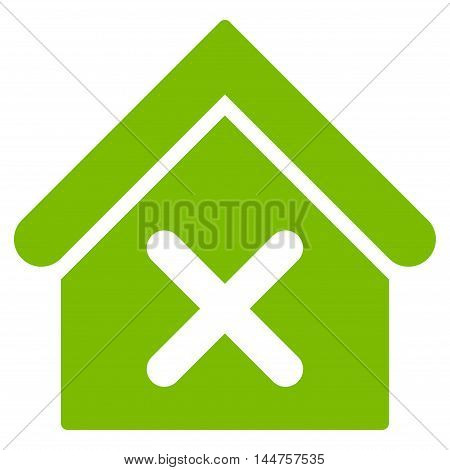 Wrong House icon. Vector style is flat iconic symbol, eco green color, white background.